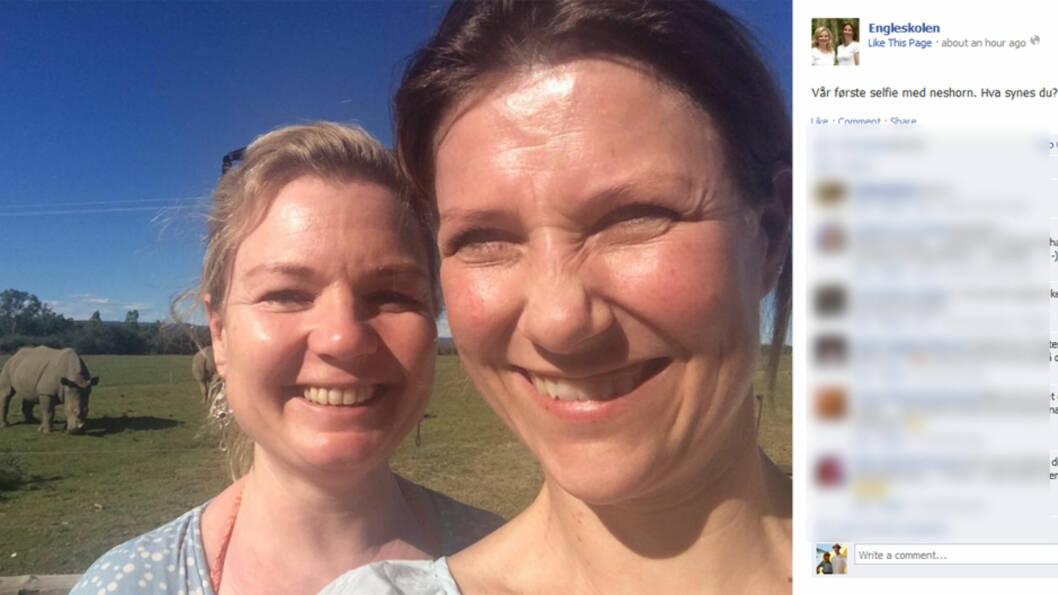 MØTTE NESEHORN: Prinsesse Märtha Louise og hennes kollega Elisabeth Nordeng delte dette bildet med et nesehorn i bakgrunnen på Engleskolens Facebookside. Foto: Facebook