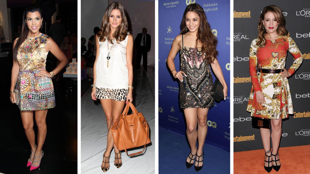 KJENDISFANS: Valentino-skoene er en stor favoritt i Hollywood. Realitystjernen Kourtney Kardashian har en rosa variant, mens Olivia Palermo falt for de i dyremønster. Skuespillerne Vanessa Hudgens og Alyssa Milano gikk for den heltsorte utgaven.  Foto: All Over/FameFlynet