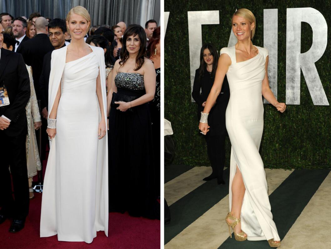 ENGEL I HVITT: Gwyneth Paltrow ble hyllet for antrekket under fjorårets Oscar-utdelingen. Kjolen med matchende cape er designet av Tom Ford.  Foto: FameFlynet