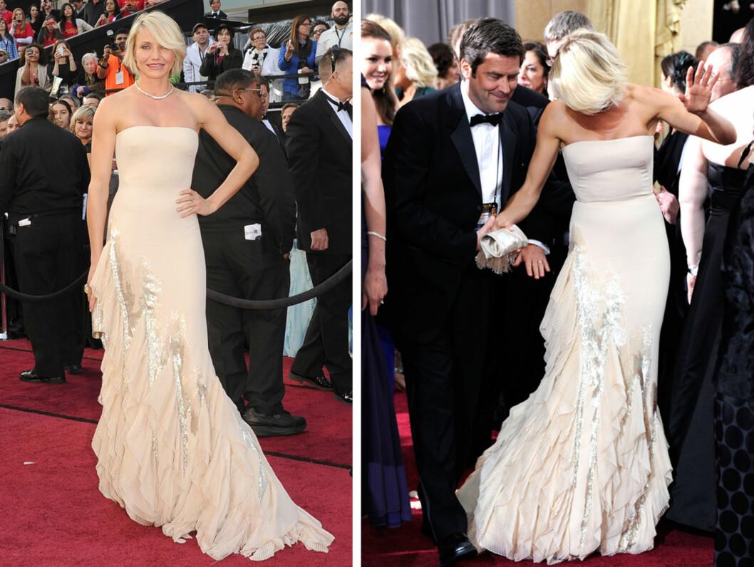 STROPPELØS: Cameron Diaz valgte Gucci. Den pudderrosa kjolen hadde perledekor og rysjer på skjørtet.   Foto: All Over Press