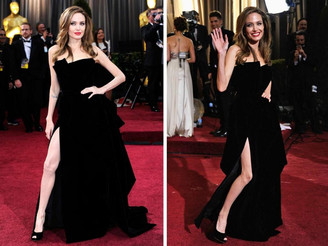 SPLITT OG HERSK: Angelina Jolies bein fikk enorm oppmerksomhet. Kjolen i ung fløyel var fra Atelier Versace.  Foto: All Over Press