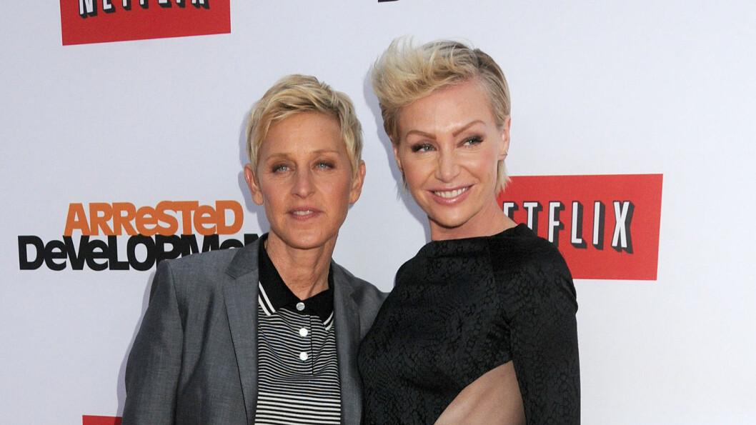 <strong>LYKKELIGERE ENN NOENSINN:</strong> Ellen Degeneres og Portia de Rossi er like forelsket ti år etter at de ble et par. Foto: Andre Michel/DLM Press
