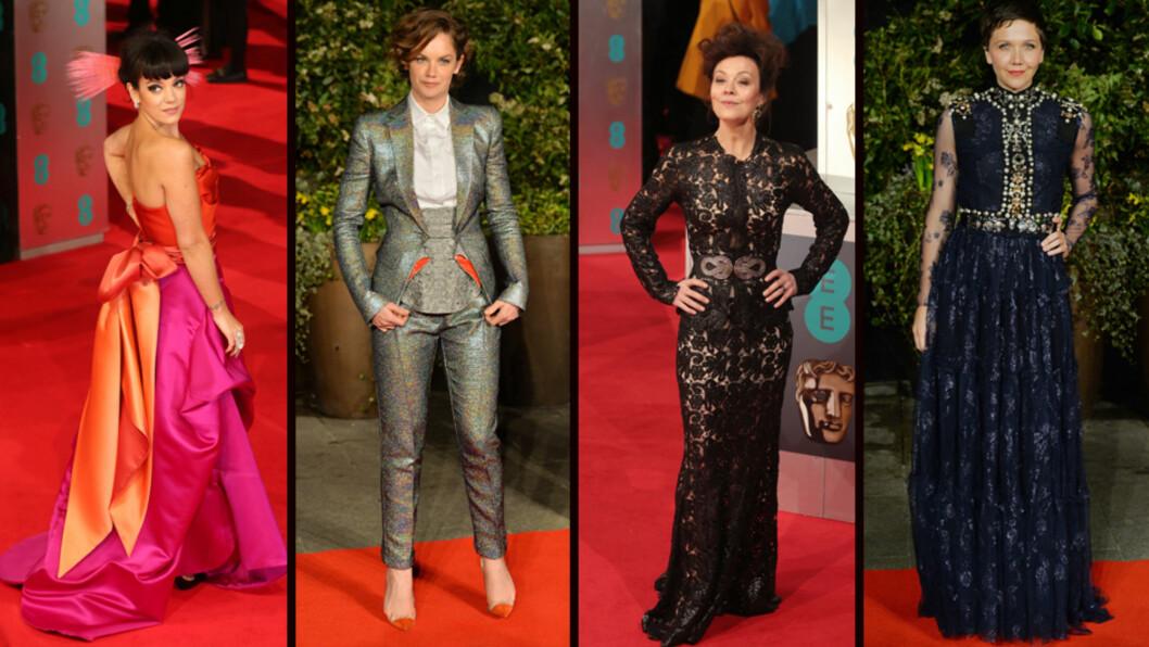 <strong>VERST KLEDD:</strong> Lily Allen, Ruth Wilson, Helen McCrory og Maggie Gyllenhaal havnet alle på listen over de verst kledde kjendisene under prisutdelingen BAFTA søndag kveld.