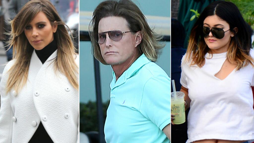 SAMME FRISØR?: Det ryktes at Bruce Jenner er i ferd med å skifte kjønn. Nå begynner han å ligne mer og mer på stedatteren Kim Kardashian og yngstedatteren Kylie Jenner. Foto: All Over Press/Fame Flynet