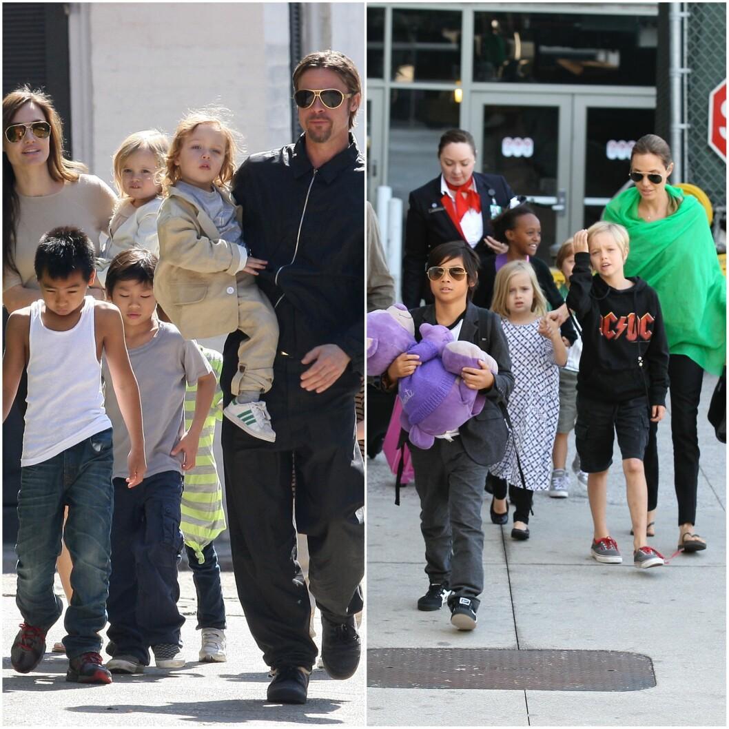 FØR OG NÅ: Hele Pitt-Jolie familien har forandret seg mye på to år.