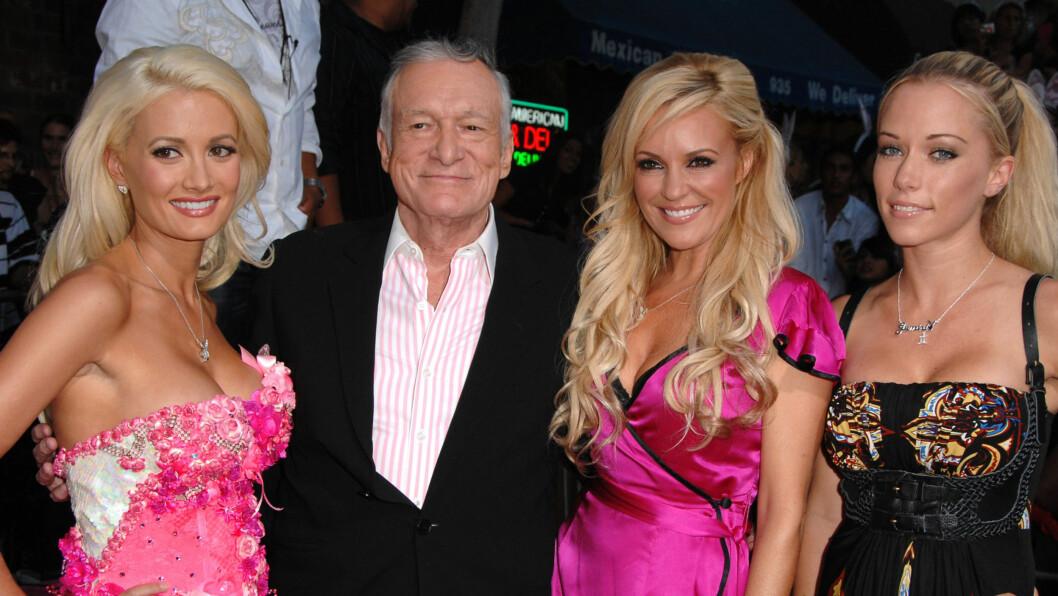 VILLE HA MARGOT: Playboy-sjef Hugh Hefner lå paddeflat etter den blonde australske skuespilleren. Foto: All Over Press