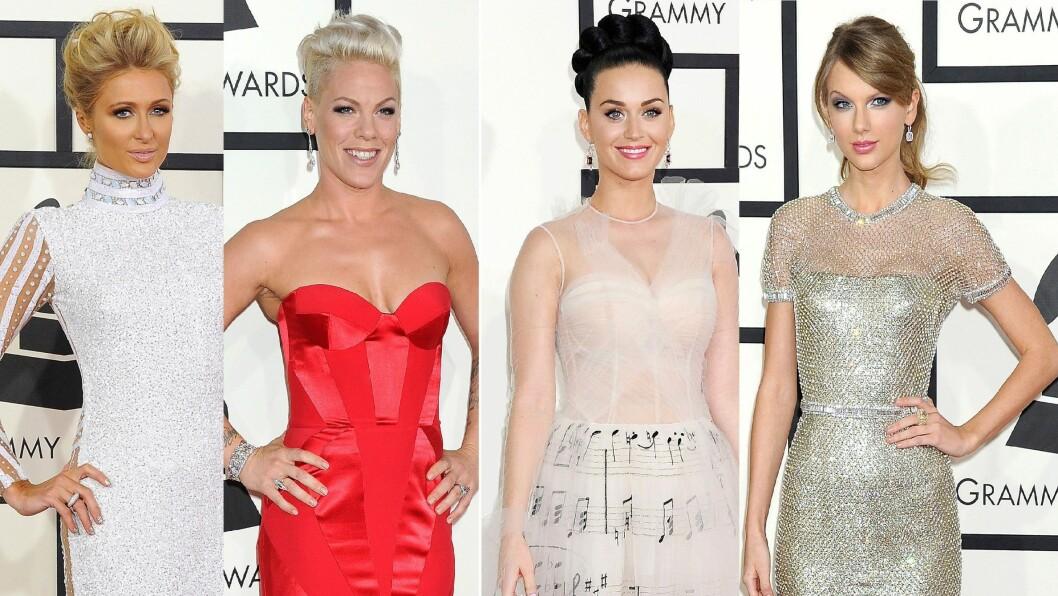 FLOTTE DAMER: Paris Hilton, Pink, Katy Perry og Taylor Swift var alle stivpyntet på Grammy Awards søndag kveld. Foto: All Over