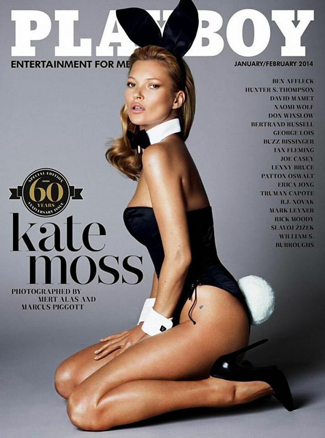 SEXY BUNNY: Kate Moss var på forsiden av Playboys jubileumsutgave iført kaninører og hale.  Foto: Stella Pictures