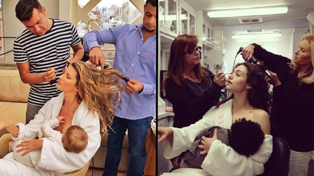 SPØKEFUGL: Etter at Gisele Bundchen la ut bildet til venstre på sin Instagram-side, der hun tilsynelatende ammer datteren, la Emmy Rossum ut bildet til høyre på sin egen Instagram-side. Foto: Instagram