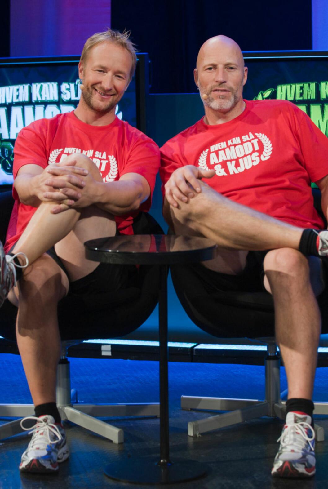 <strong>NY SESONG:</strong> Kjetil André Aamodt og Lasse Kjus er tilbake med en ny sesong av TVNorge-programmet Hvem kan slå Aamodt og Kjus. Foto: TVNorge