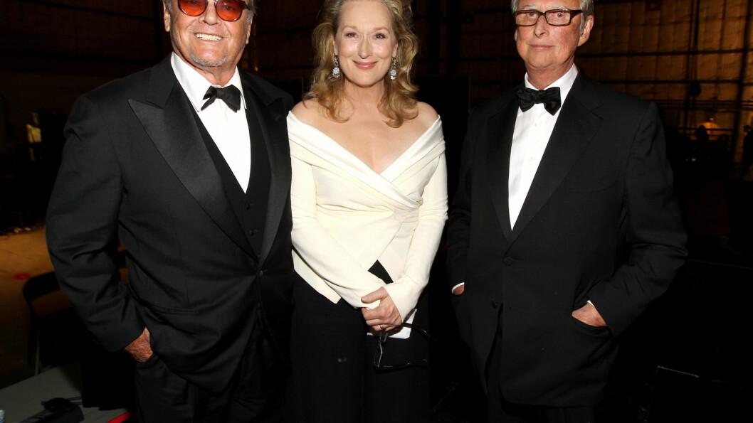 <strong>GODE VENNER:</strong> Streep og Nicholson har beholdt det gode vennskapet. Her avbildet sammen på AFI Life Achievement Award i 2010. Foto: Getty Images for AFI/Getty Images/All Over Press