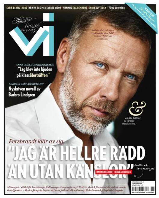 FORSIDEMANN: Mikael Persbrandt snakker åpenhjertig ut i det svenske magasinet VI.  Foto: Faksimile