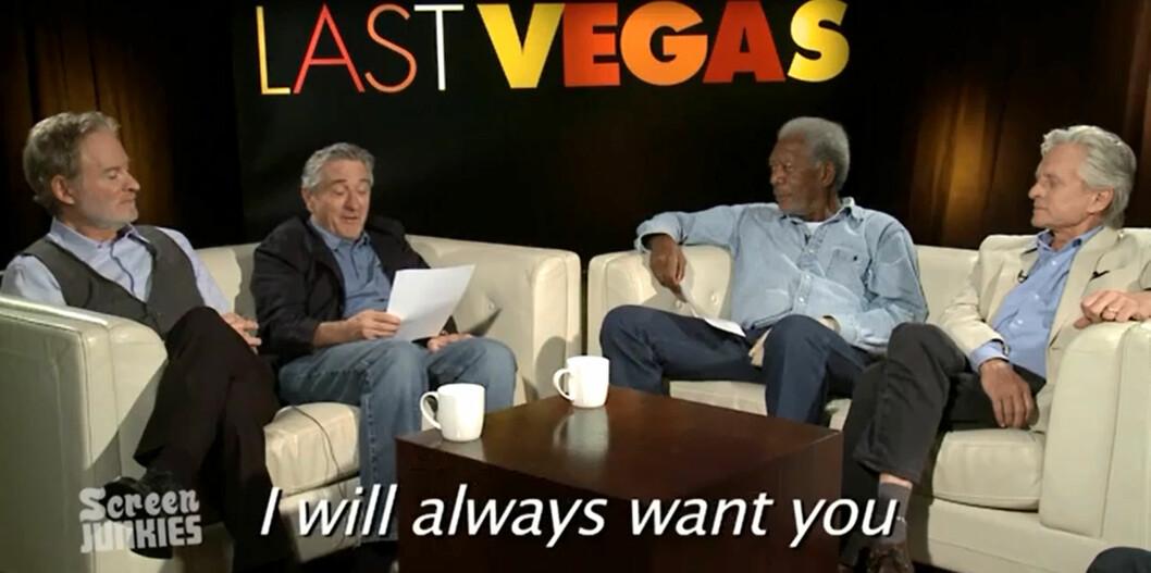 <strong>STJERNELAG:</strong> Kevin Kline, Robert De Niro, Morgan Freeman og Michael Douglas leser pop-tekster. Samtlige er med i den kommende komedien Last Vegas. Foto: YouTube