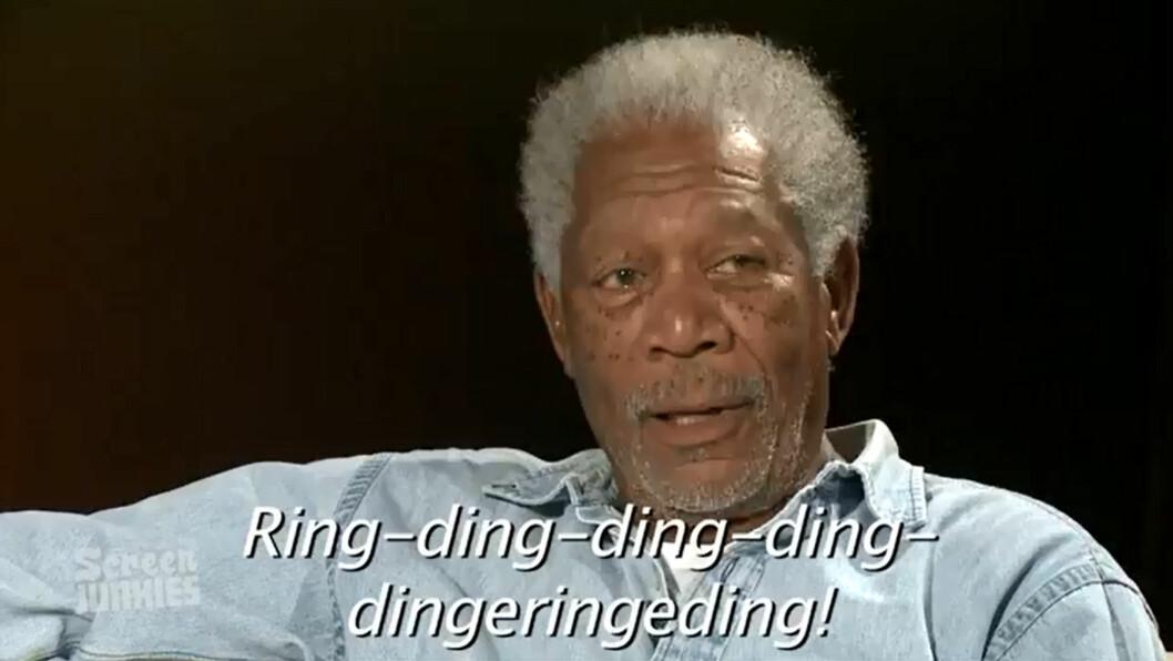 <strong>FORSTÅR LITE:</strong> Morgan Freeman virker å forstå lite av teksten til Ylvis-hiten The Fox. Foto: YouTube