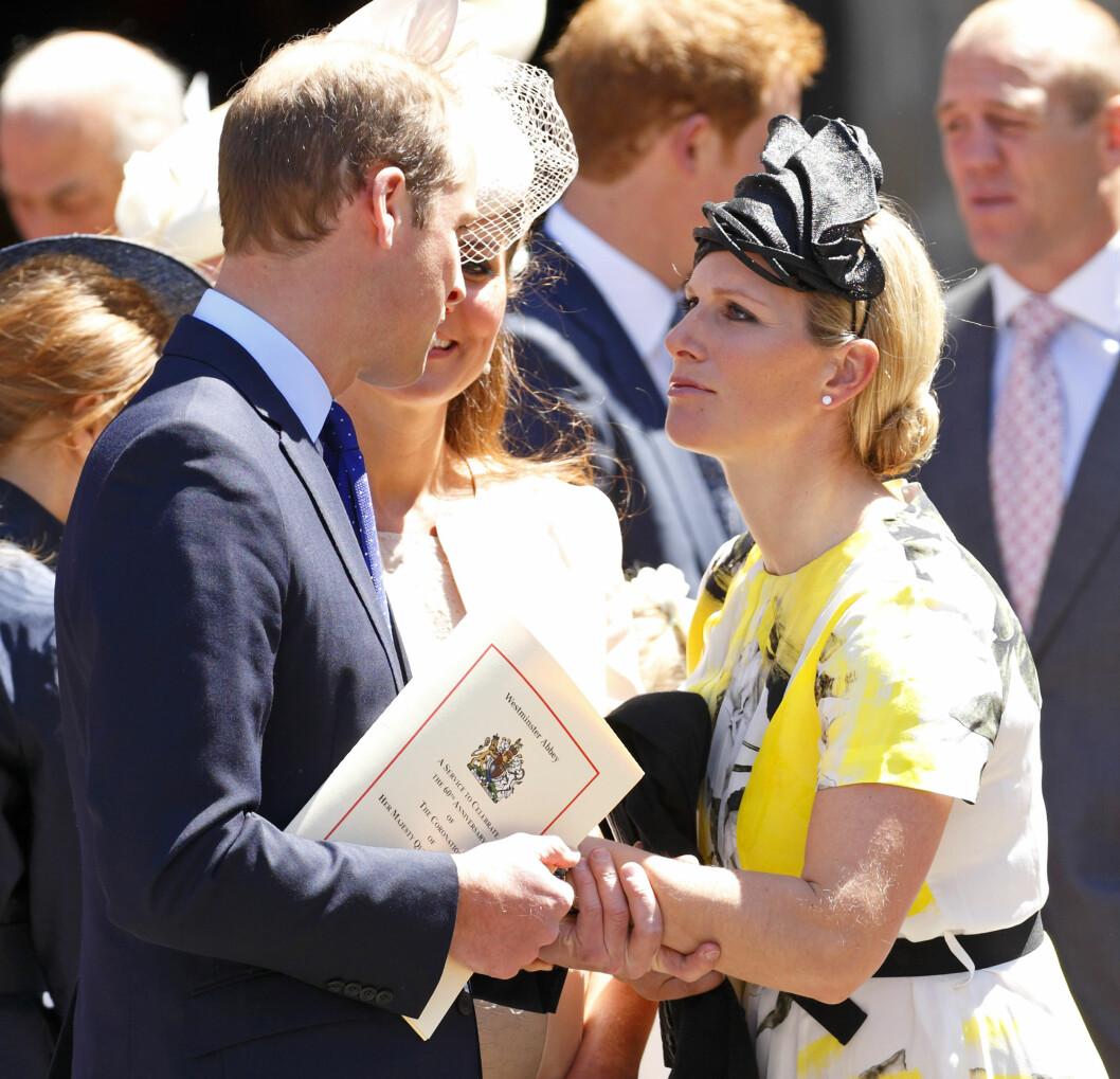 NÆRE VENNER: Prins William og Zara har alltid hatt et godt forhold. Her under 60-årsmarkeringen for dronning Elizabeth i sommer. Foto: Getty Images/Getty Images/All Over Press