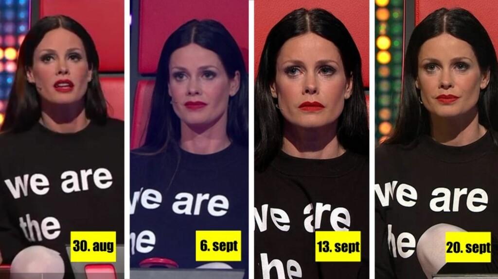 GJENBRUK: Lene Nystrøm var tvunget til å bruke den samme genseren i flere uker på rad under innspillingen av «The Voice». Foto: TV 2