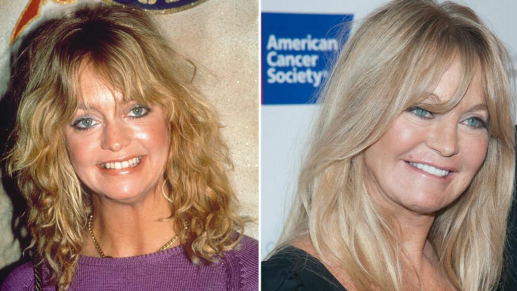 FØR OG NÅ: Det er ikke vanskelig å kjenne igjen «evigunge» Goldie Hawn på bildet fra 1982 (t.v). Før helgen så hun svært så opplagt ut på det årlige DreamBall i New York (t.h). Foto: All Over Press