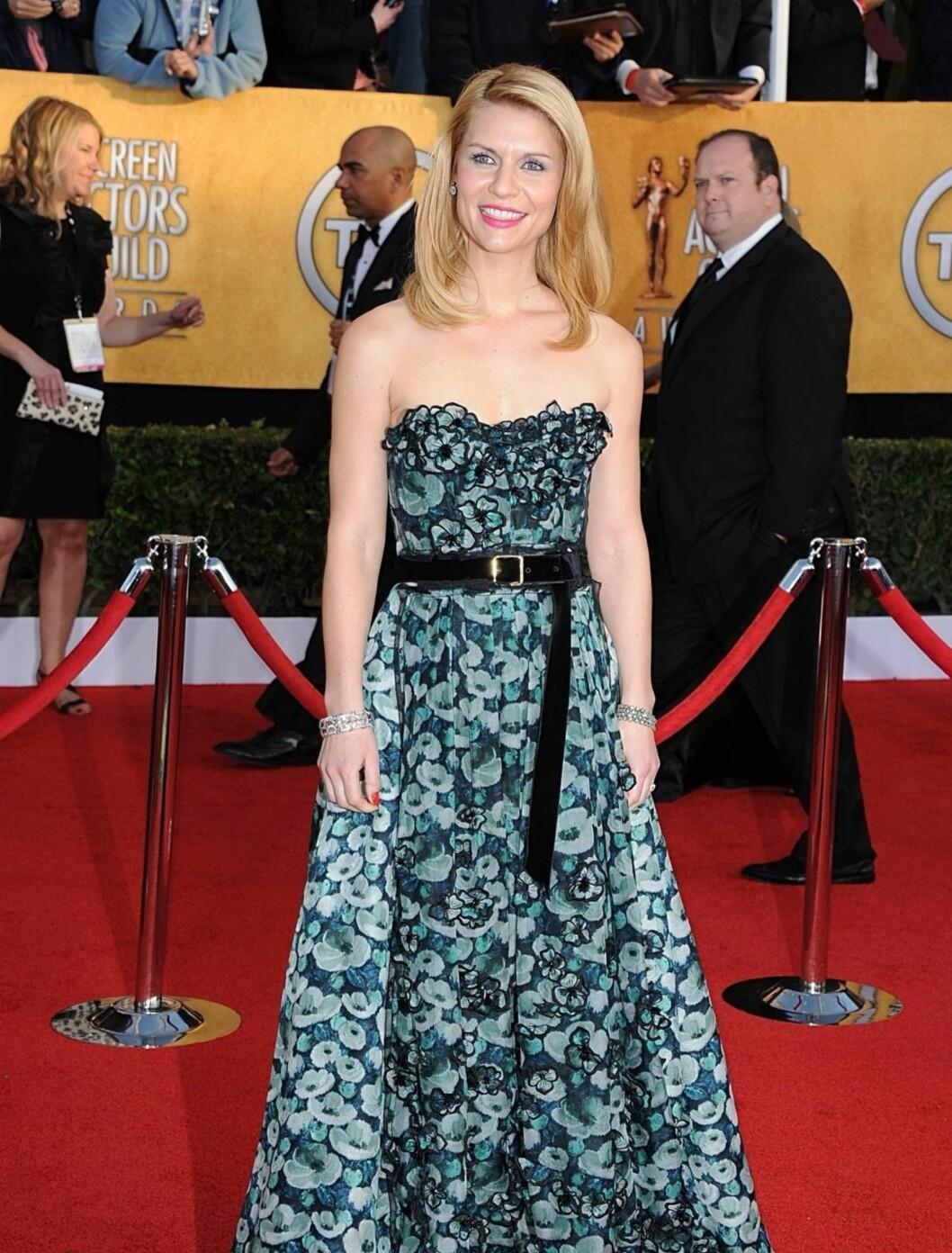 <strong>CLAIRE DANES:</strong> skuespillerinnen hadde på seg en lekker kjole fra Louis Vuitton og bar smykker fra Fred Leighton.  Foto: Stella Pictures