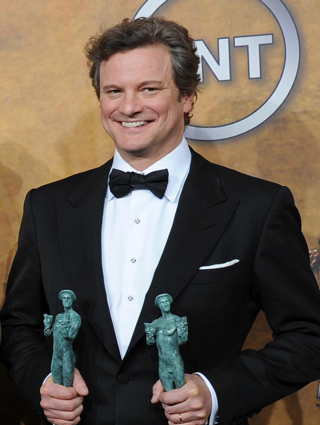 <strong>VANT:</strong> Colin Firth vant pris for beste mannlige filmskuespiller, i tillegg til at filmen «The King's Speech» ble kåret til beste film.  Foto: All Over Press