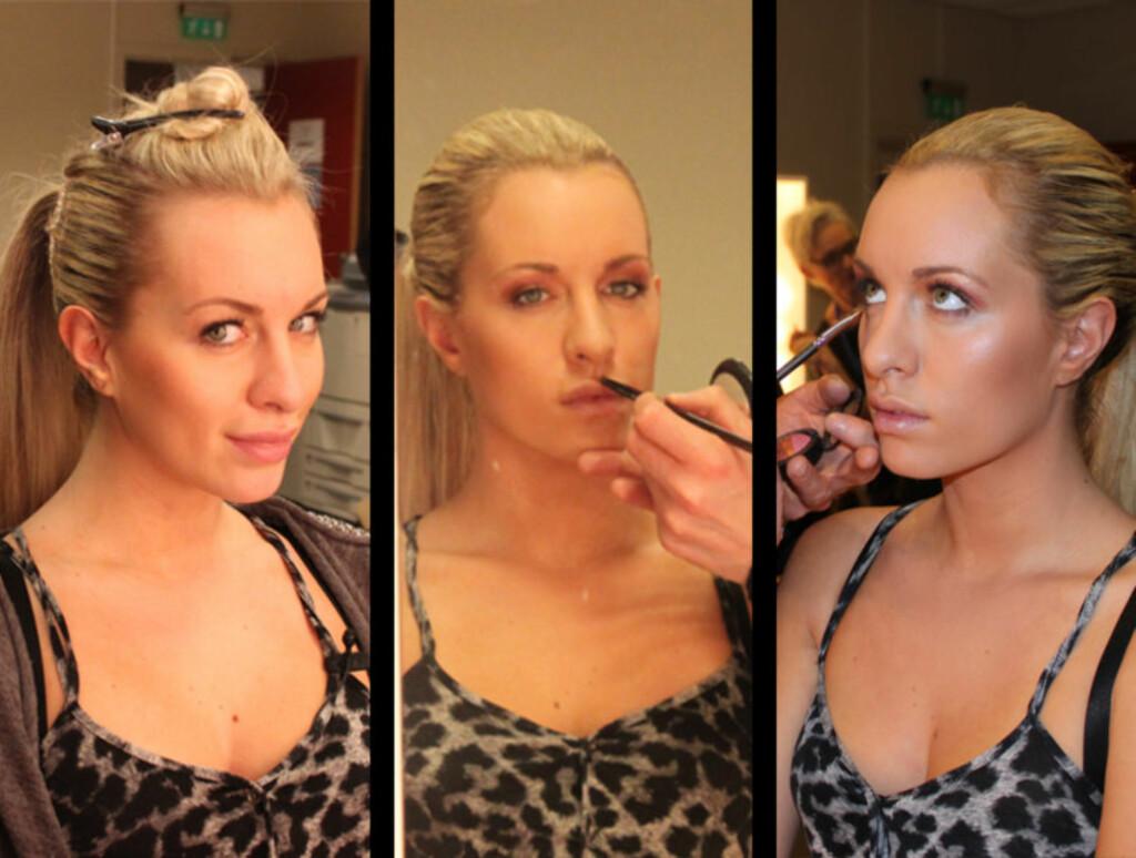 LØSHÅR OG SMINKE: Carina Dahl gjøres klar til lørdagens MGP-sending. Her får hun satt opp håret og påført sminke av NRKs dyktige stylingteam.  Foto: Anders Myhren/Seher.no