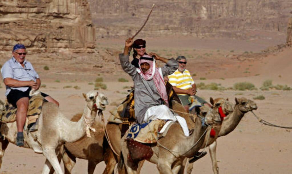 ØRKENSKIP: I Månedalen i Wadi Rum kan du kjenne hvordan det føles å sitte på dromedarryggen.