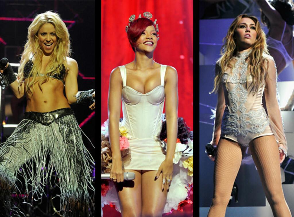SEXY: Shakira, Rihanna og Miley Cyrus valgte alle særdeles utfordrende sceneantrekk under sine opptredner på musikkfesten.  Foto: All Over Press