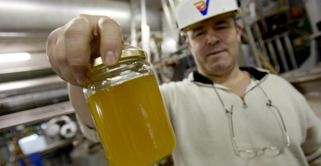 <strong>BIOSTOFFER:</strong> Prosessoperatør Tor Svanes hos det nå nedlagte selskapet BV Energi viser fram en biodieselvariant basert på raps. Arkivfoto: SCANPIX
