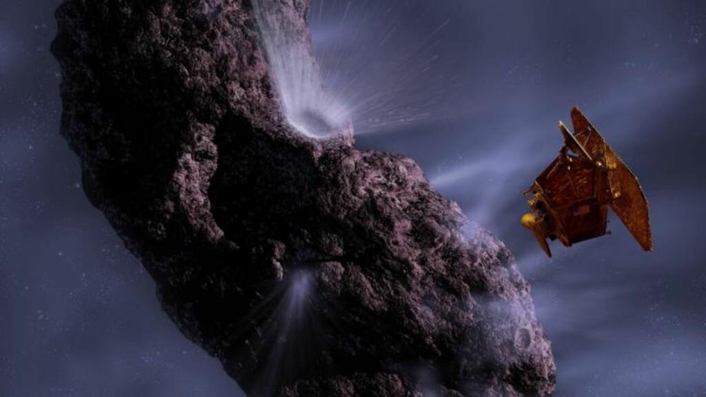 FLØY FORBI: En illustrasjonstegning av Deep Impact-sonden passerte kometen Hartley 2 med en hastighet på hele 12,3 km per sekund. Illustrasjon: NASA