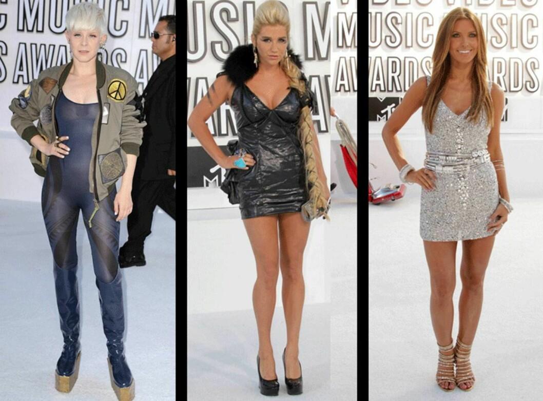 BEST OG VERST: Svenske Robyn, Kesha og Audrina Patridge var blant stjernene som skred ned den hvite løperen under MTVs Video Music Awards i LA søndag kveld.  Foto: All Over Press