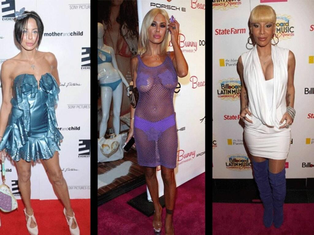 NOT GOOD: Lisa Maria Falcone (fra venstre), Shauna Sand og Ivy Queen kunne gjerne valgt noen litt mer dekkende kjoler... Foto: All Over Press