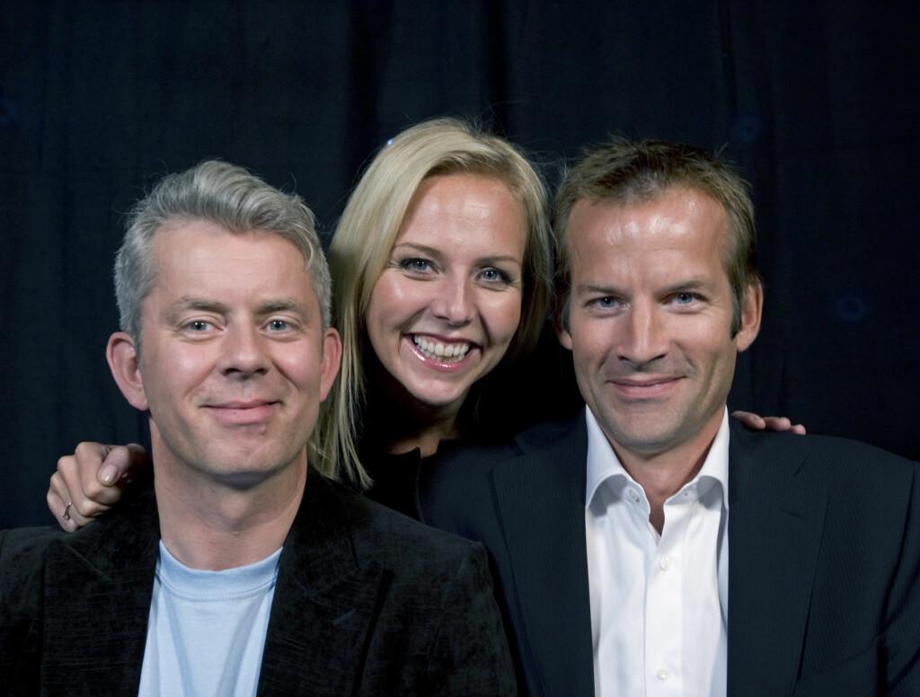 TILBAKE: Fredag er Linn Skåber endelig tilbake i «Nytt på Nytt». Dette gleder tv-makkerne Jon Almaas og Knut Nærum.  Foto: SCANPIX