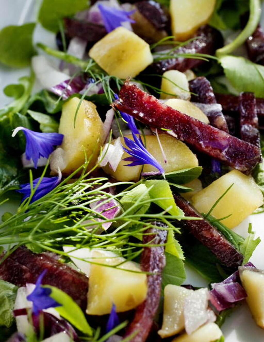 SALAT MED SPEKEPØLSE: Arne Brimi har laget småmat til TV-kvelden, dette er salat med spekepølse.
