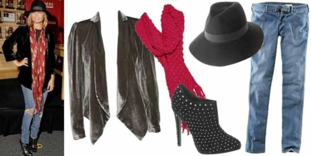 FRA VENSTRE: Blazer fra Dagmar (kr 3595), skjerf fra Barts (kr 449), hatt fra Asos (kr 206), sko fra Miss KG (kr 1122), bukse fra H&M (kr 99). Foto: Stella, Nelly.com, produsenten