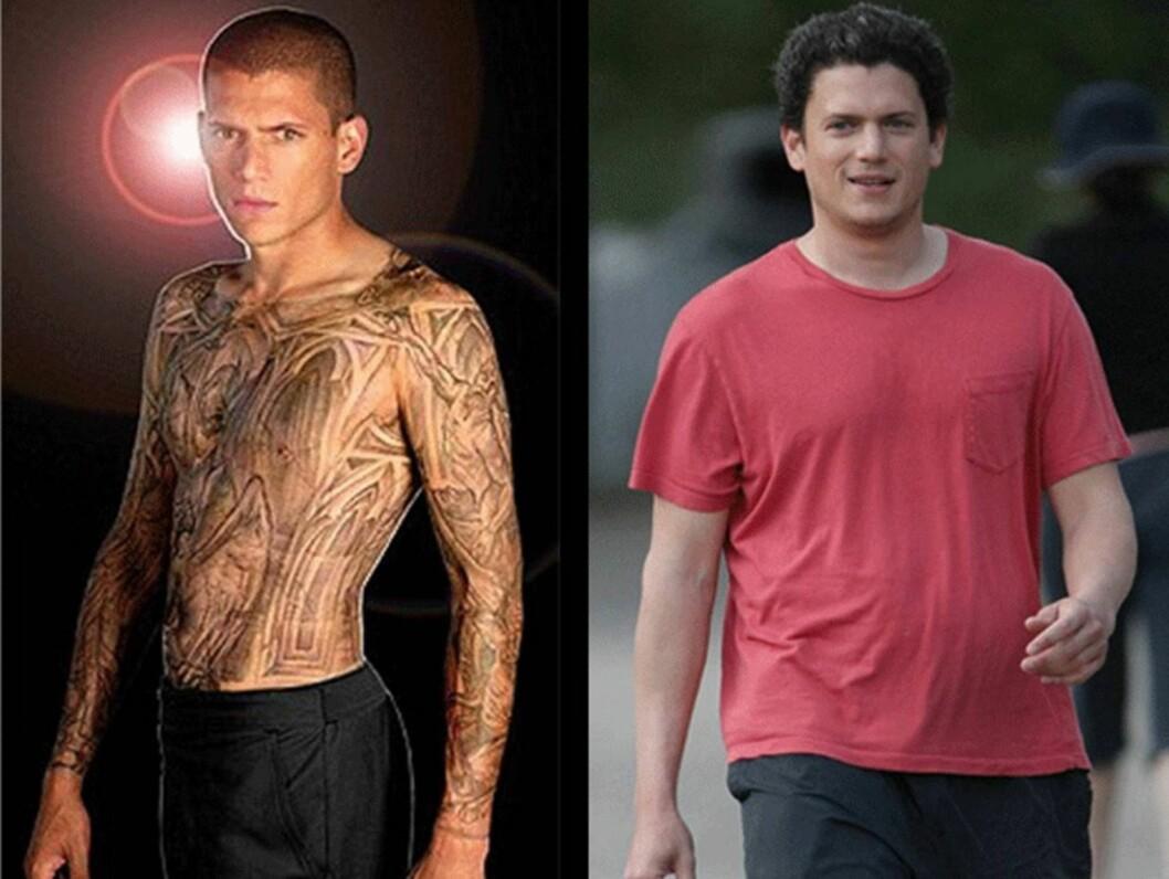 MAGE OG HÅR: Wentworth Miller ble superstjerne gjennom rollen som veltrente Michael Scofield i «Prison Break». I disse dager ser imidlertid stjernen ganske så annerledes ut.