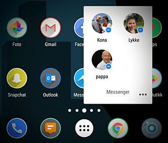 <strong>PÅ HJEMSKJERMEN:</strong> Både iOS- og Android-utgavene av Messenger lar deg lage snarveier til enkeltsamtaler på hjemskjermen.