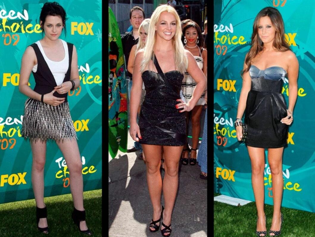 SEXY: Både Kristen Stewart, Britney Spears og Ashley Tisdale hadde valgt korte, sexy kjoler til Teen Choice Awards.