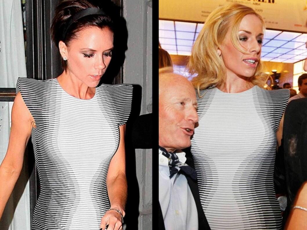 LIKE KJOLER: Gunhild Melhus er tydeligvis like opptatt av design og mote som stilikon Victoria Beckham. Her er de to i samme kjole fra designer Alexander McQueen.