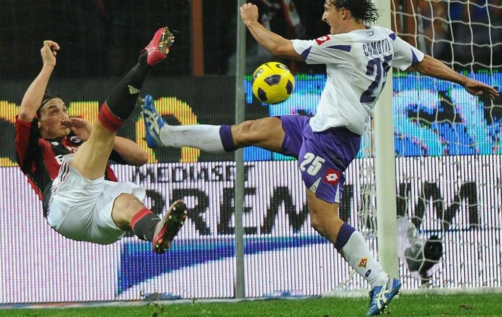 LEKKERBISKEN: Zlatan Ibrahimovic serverte seg selv, og brasset inn 1-0 for Milan.Foto: SCANPIX/EPA/DANIEL DAL ZENNARO