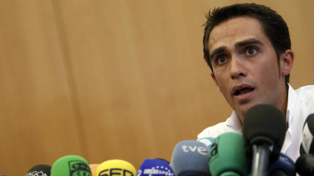 ER SAKEN BIFF? Ja, mener dopingsuspenderte Alberto Contador. Nei, mener spanske kjøttprodusenter, som ikke vil ha skylda. Foto: Sergio Perez, Reuters/Scanpix