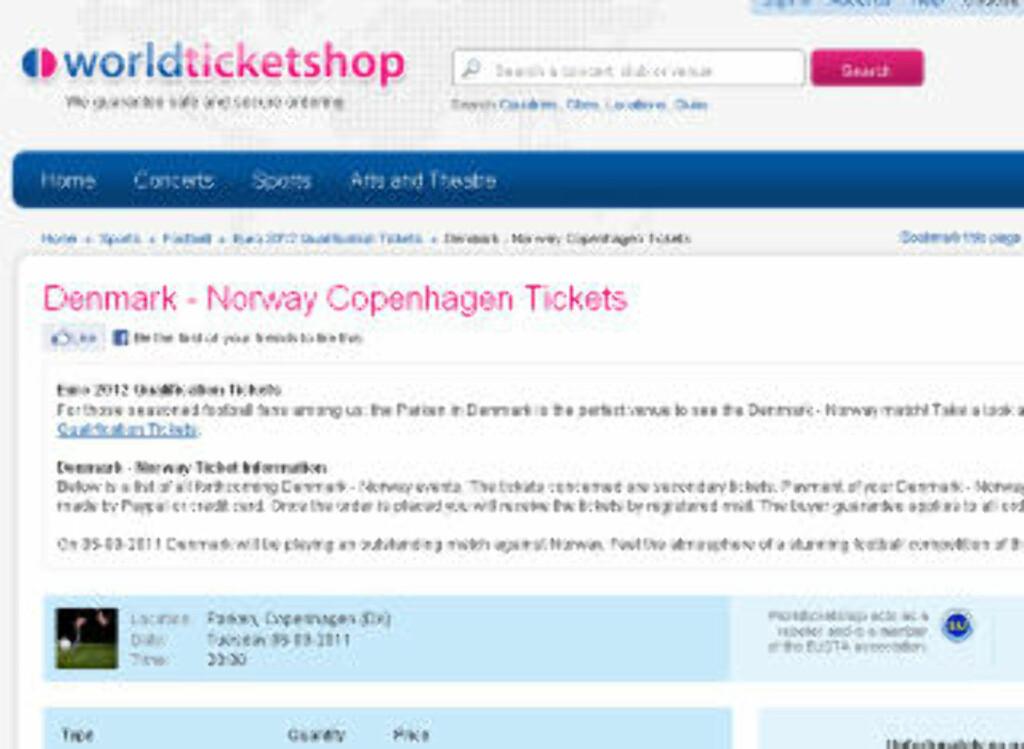 FALSKE BILLETTER: Her er billettene til Parken til salgs allerede, til overpris og før de er trykket. Faksimile: worldticketshop.com