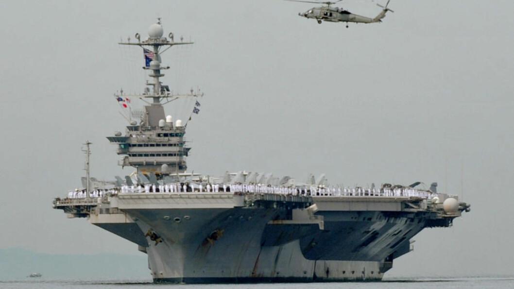 <strong>KAN STARTE KRIG:</strong> Superhangarskipet USS George Washington skal etter planen være med på en militærøvelse sammen med Sør-Korea fra søndag. Foto:    AFP Photo/Jay Directo/Scanpix