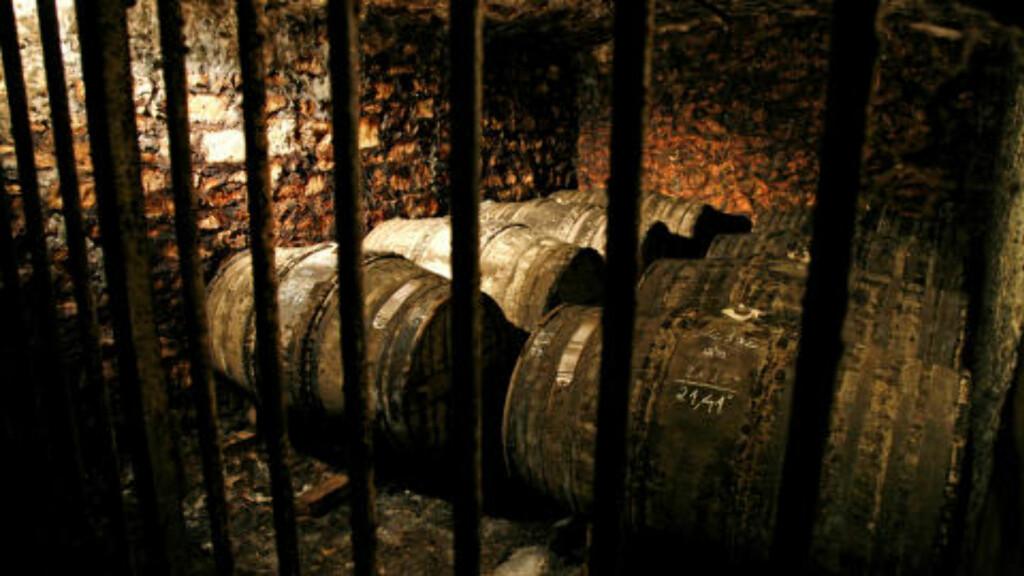 """ALLER HELLIGSTE: I disse tønnene, bak solide gitter i dype kjellere, ligger noen av verdens mest kostbare cognac-skatter. Remy Martins """"Loius XIII"""" inneholder cognac som er over 100 år gammel, slik disse tønnene er."""