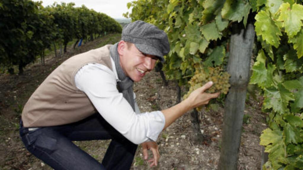 """PÅ DRUEN: Salgsansvarlig Kristian Eikanger Utama inspiserer årets druer i cognac. """"Det ser lovende ut"""", konstaterer bergenseren som i en årrekke har jobbet som bartender."""