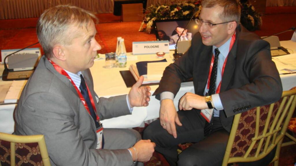 VIL SAMARBEIDE: Justisminister Knut Storberget med sin polske kollega Krzysztof Kwiatkowski under et møte i Istanbul i går.
