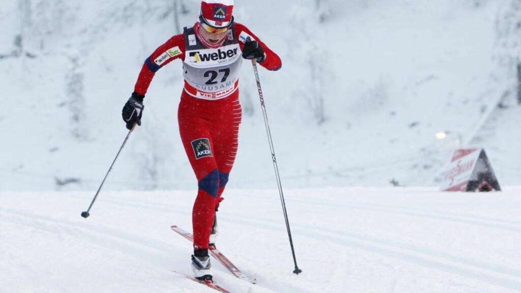 SÅR HALS: Marthe Kristoffersen i aksjon under sprinten i går. I dag står hun over på grunn av sår hals. Foto: Håkon Mosvold Larsen, Scanpix