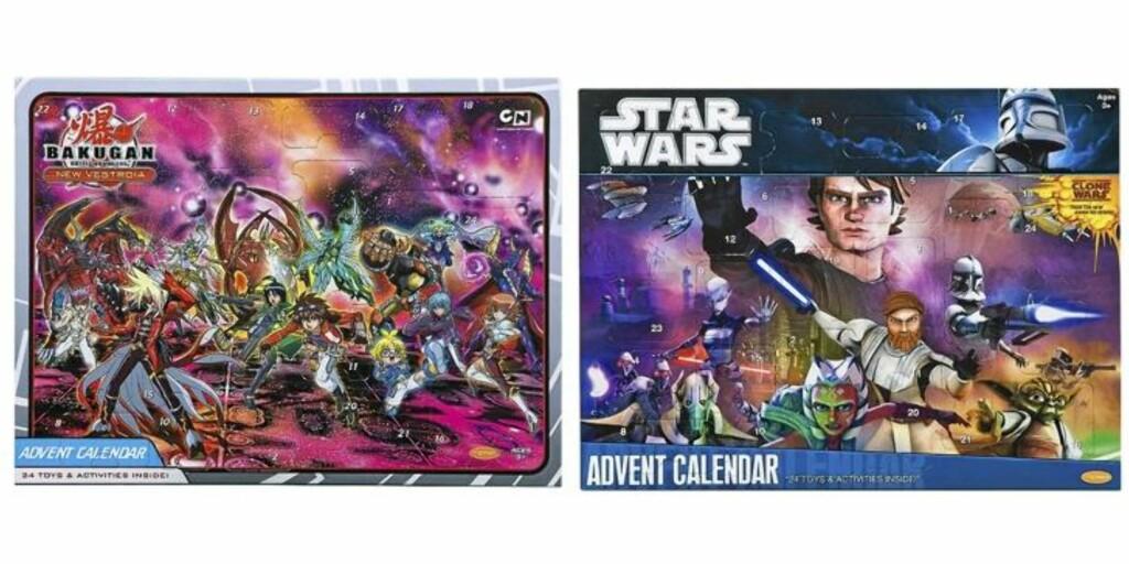 """FOR GUTTER: Kalenderne med Bakugan og Star Wars oppgir begge å ha det litt vage innholdet """"24 overraskelser"""". Begge koster kr 139,90 på Toys'r'us. Foto: produsenten"""