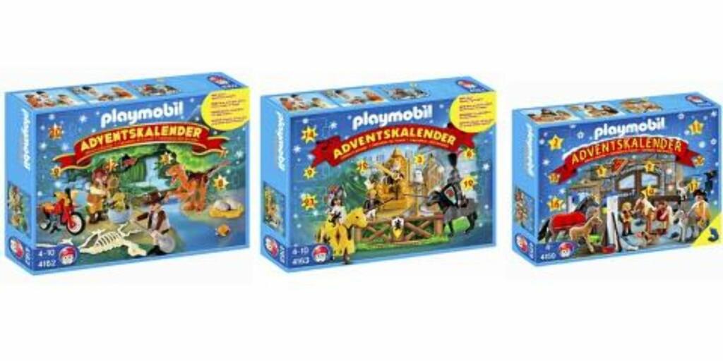 PLAYMO: Har laget tre ulike kalendere i år: Pony ranch, Knights tournament og Dinosaur Expedition, alle koster kr 189,90 på Toys'r'us. Foto: produsenten