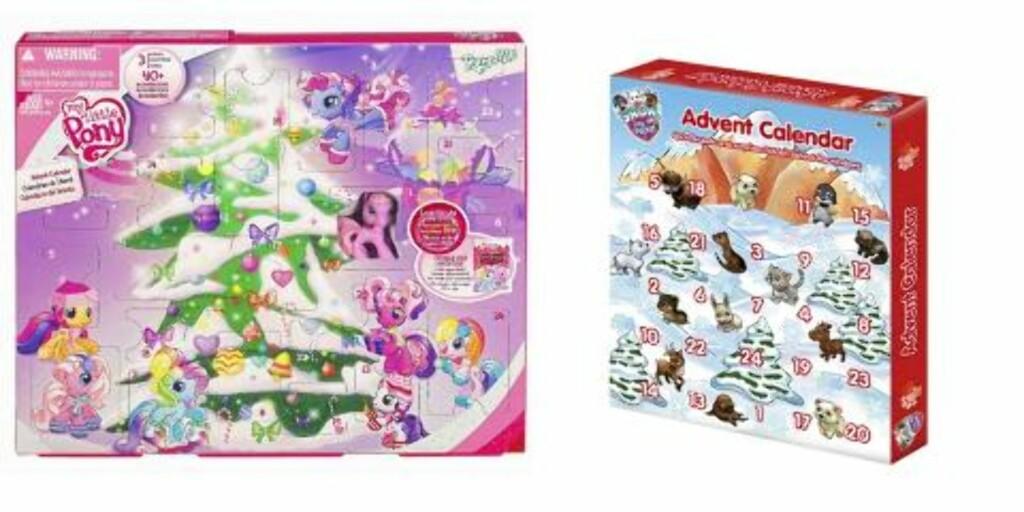 GAVEKALENDER: My little pony-kalenderen inneholder en minihest og utstyr som passer til (kr 159,50). Puppy in my pocket (kr 149,90), begge på Toys'r'us. Foto: produsenten