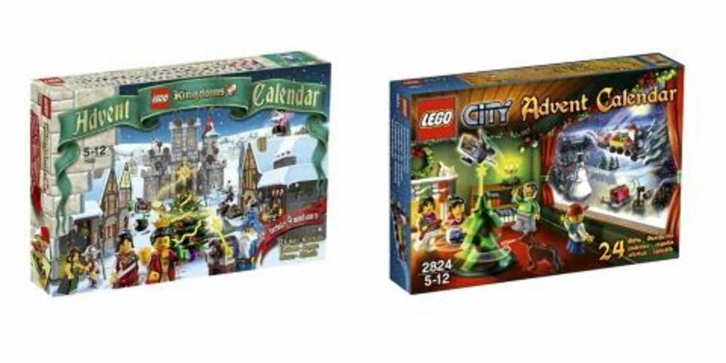 LEGO: Legokalenderen finnes i år i to utgaver: Lego City og Lego Kingdom. Begge koster kr 199 på Ringo. Foto: produsenten