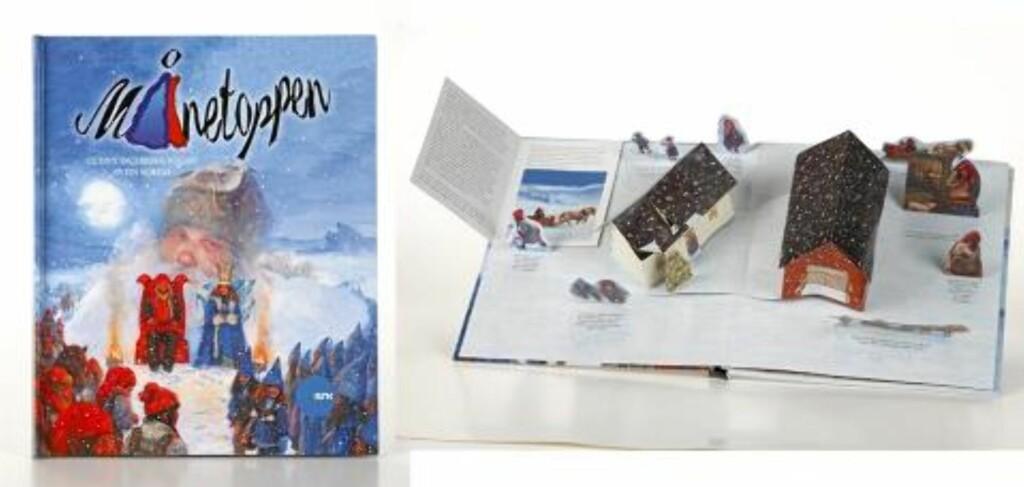 MÅNETOPPEN: Årets kalender fra NRK er formet som en pop-opp-bok med historier som passer tv-serien som går på Barne-TV i adventstida. Kr 149 på dagligvarebutikker og kiosker. Foto: produsenten